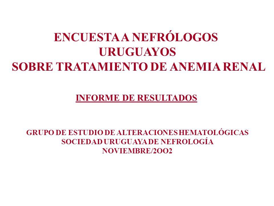 ENCUESTA A NEFRÓLOGOS URUGUAYOS SOBRE TRATAMIENTO DE ANEMIA RENAL