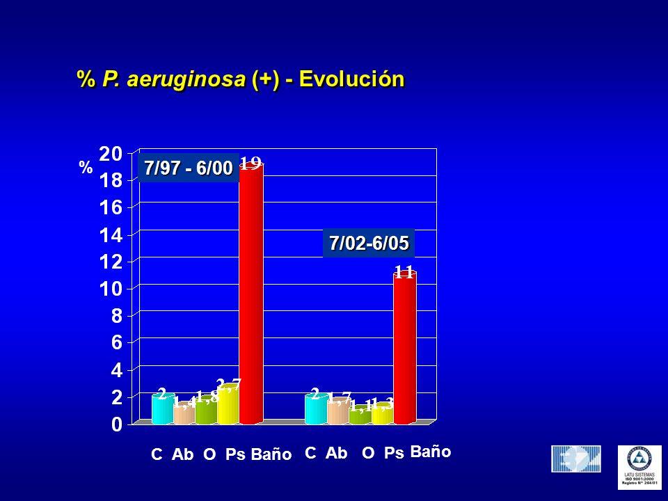 % P. aeruginosa (+) - Evolución