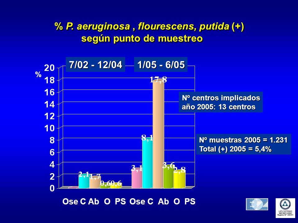 % P. aeruginosa , flourescens, putida (+) según punto de muestreo