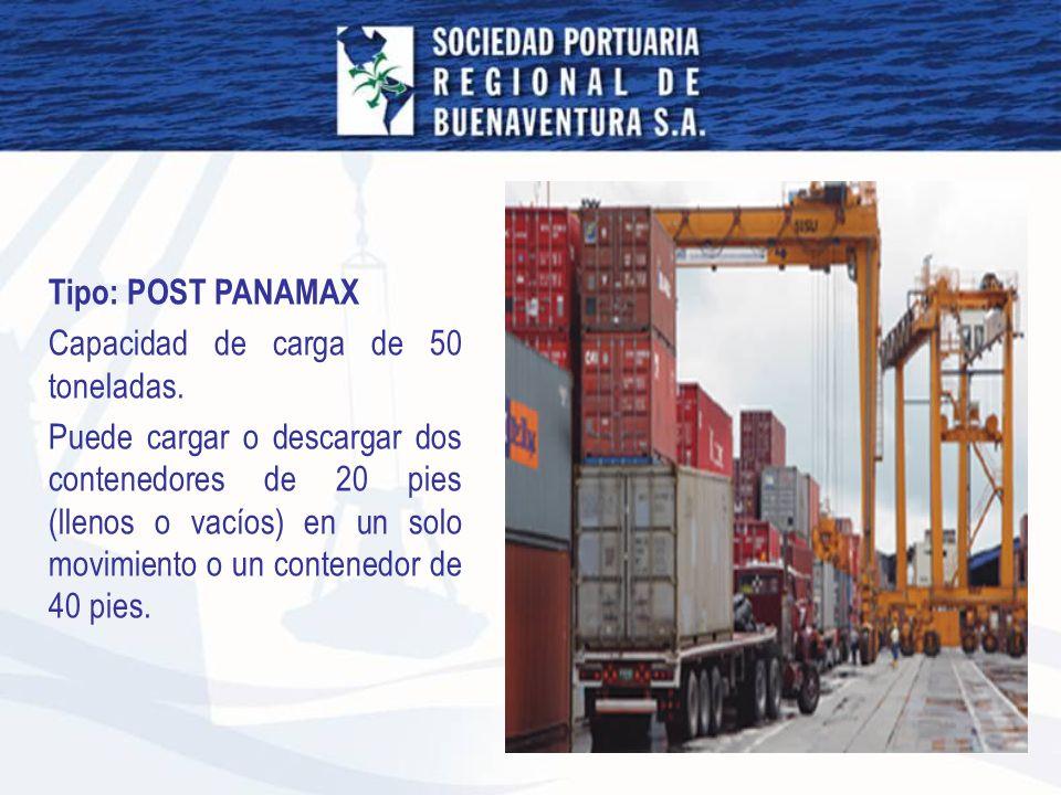 Tipo: POST PANAMAX Capacidad de carga de 50 toneladas.