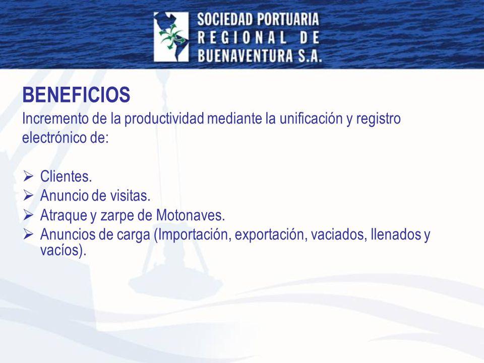 BENEFICIOS Incremento de la productividad mediante la unificación y registro. electrónico de: Clientes.