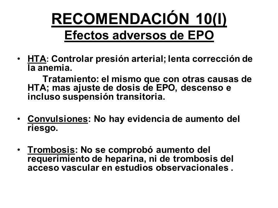 RECOMENDACIÓN 10(I) Efectos adversos de EPO