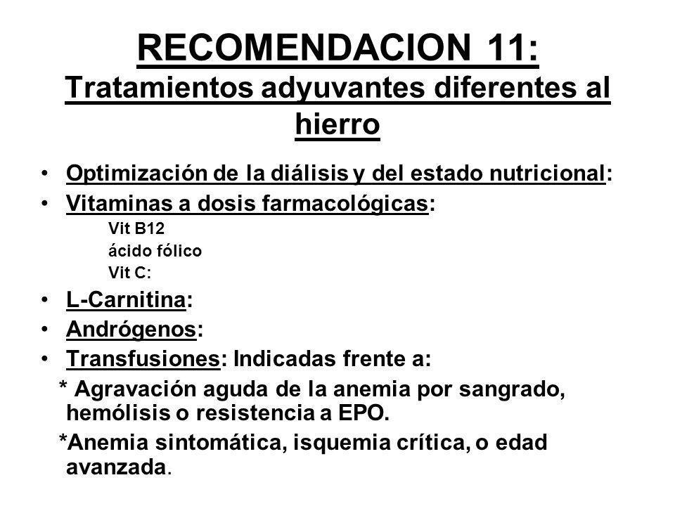 RECOMENDACION 11: Tratamientos adyuvantes diferentes al hierro