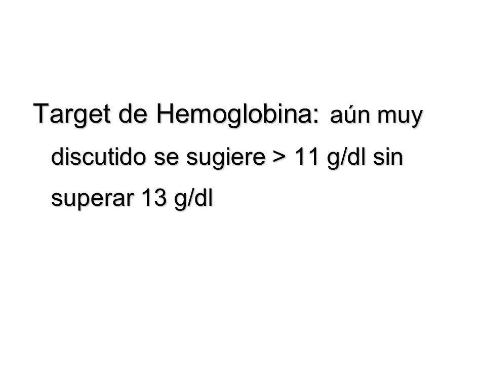 Target de Hemoglobina: aún muy discutido se sugiere > 11 g/dl sin superar 13 g/dl
