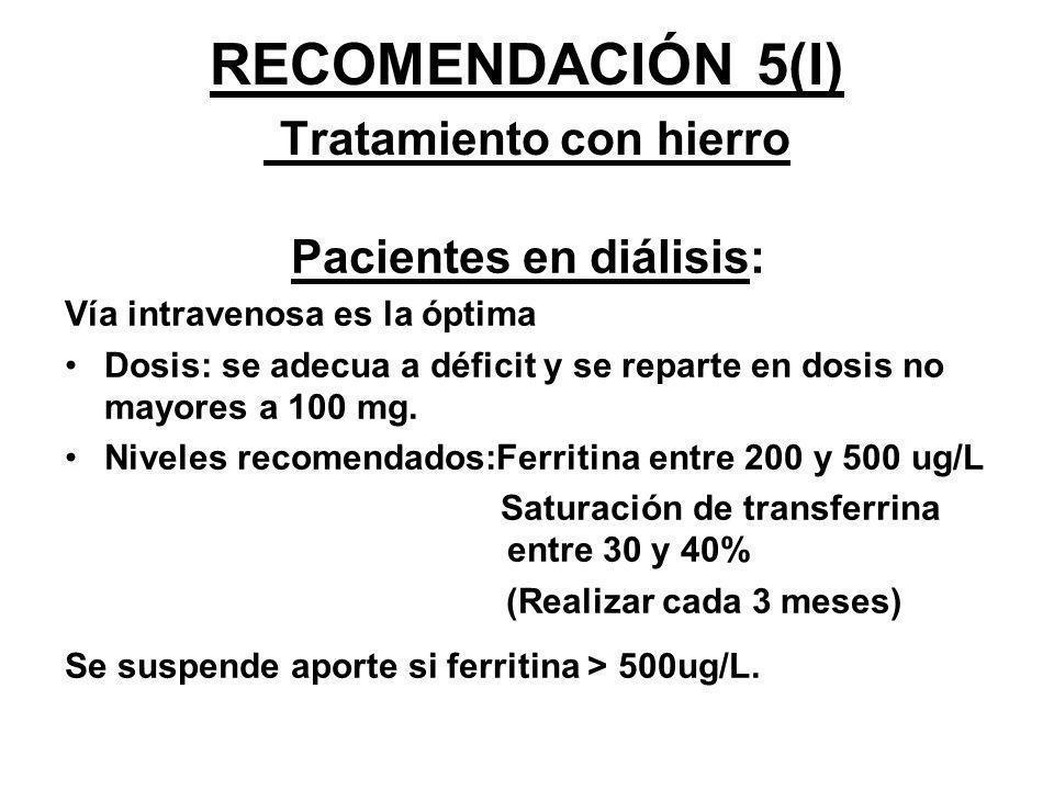 RECOMENDACIÓN 5(I) Tratamiento con hierro