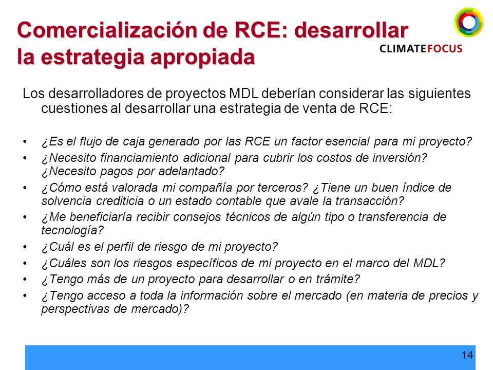 Comercialización de RCE: desarrollar la estrategia apropiada