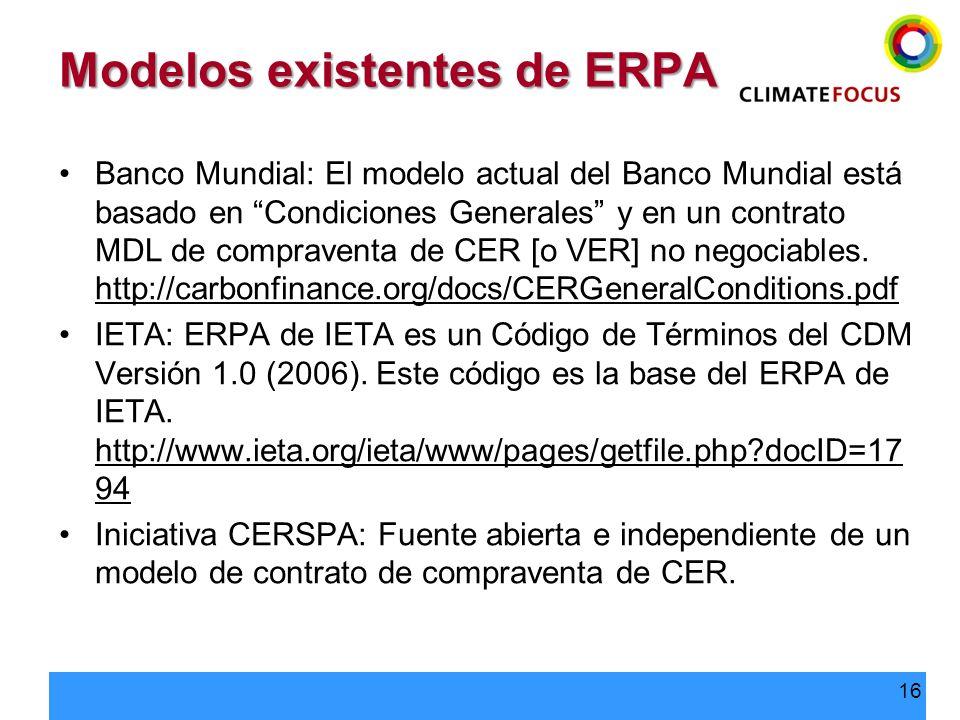 Modelos existentes de ERPA