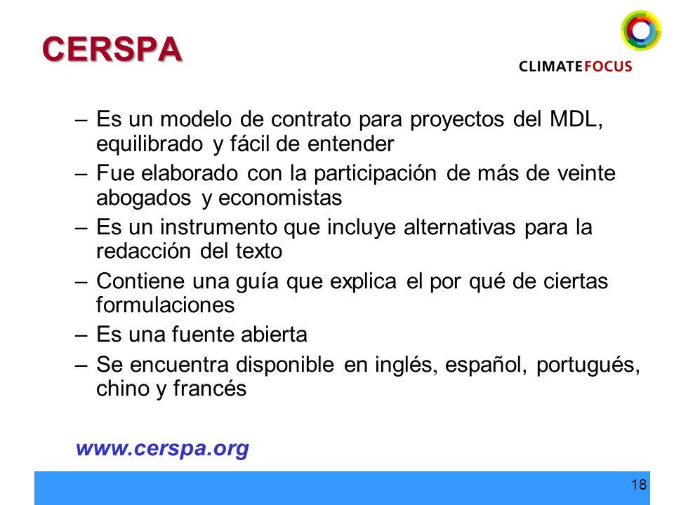 CERSPA Es un modelo de contrato para proyectos del MDL, equilibrado y fácil de entender.