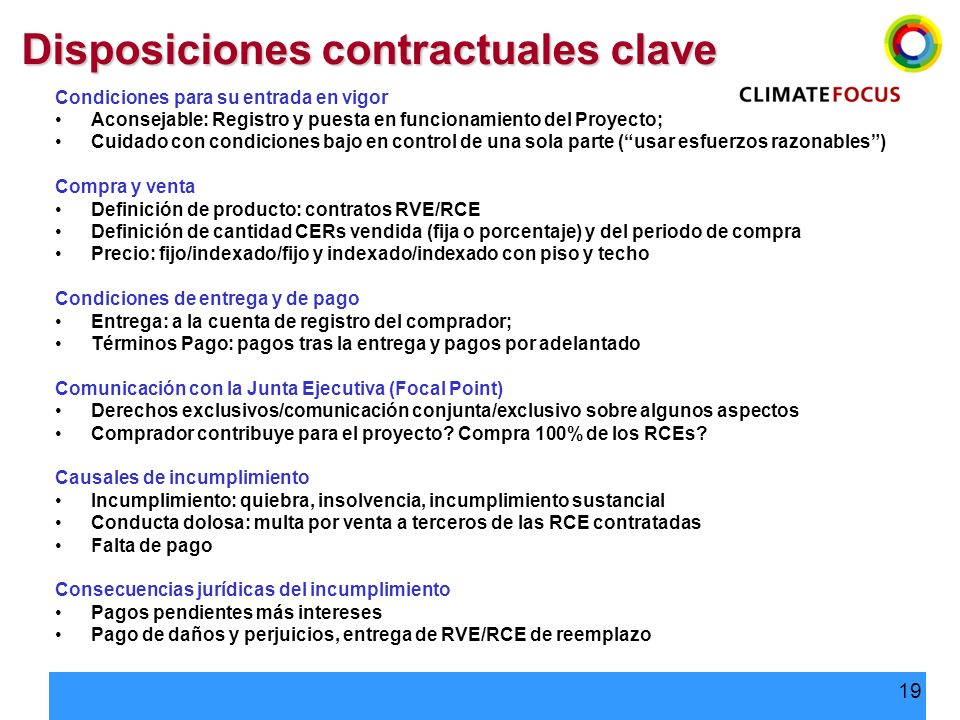 Disposiciones contractuales clave