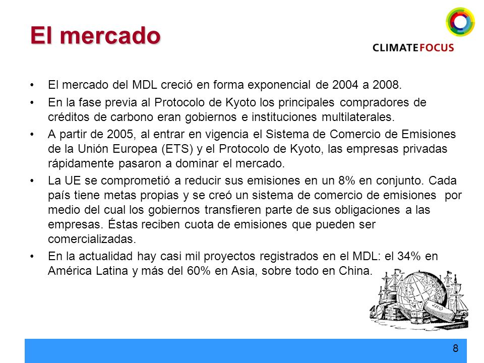 El mercado El mercado del MDL creció en forma exponencial de 2004 a 2008.