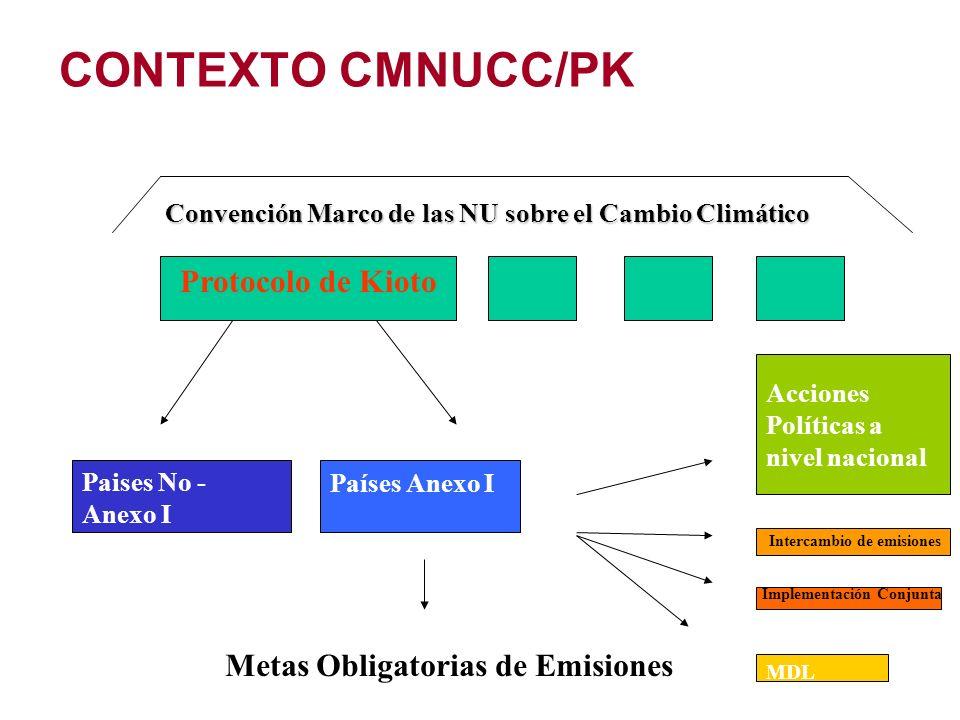 CONTEXTO CMNUCC/PK Protocolo de Kioto Metas Obligatorias de Emisiones