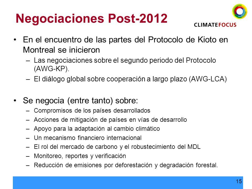 Negociaciones Post-2012En el encuentro de las partes del Protocolo de Kioto en Montreal se inicieron.
