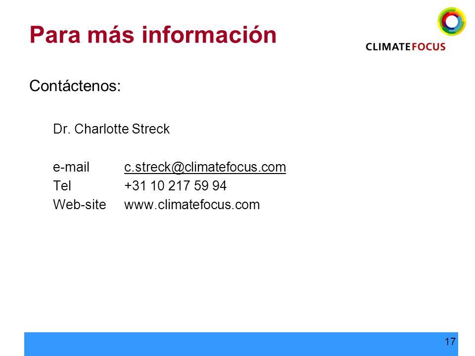 Para más información Contáctenos: Dr. Charlotte Streck