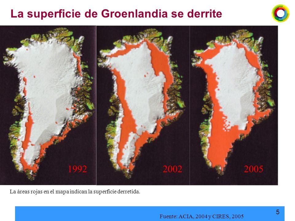 La superficie de Groenlandia se derrite