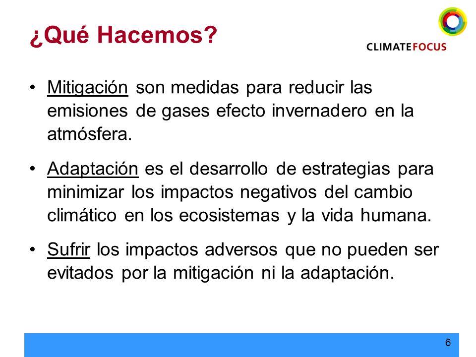 ¿Qué Hacemos Mitigación son medidas para reducir las emisiones de gases efecto invernadero en la atmósfera.
