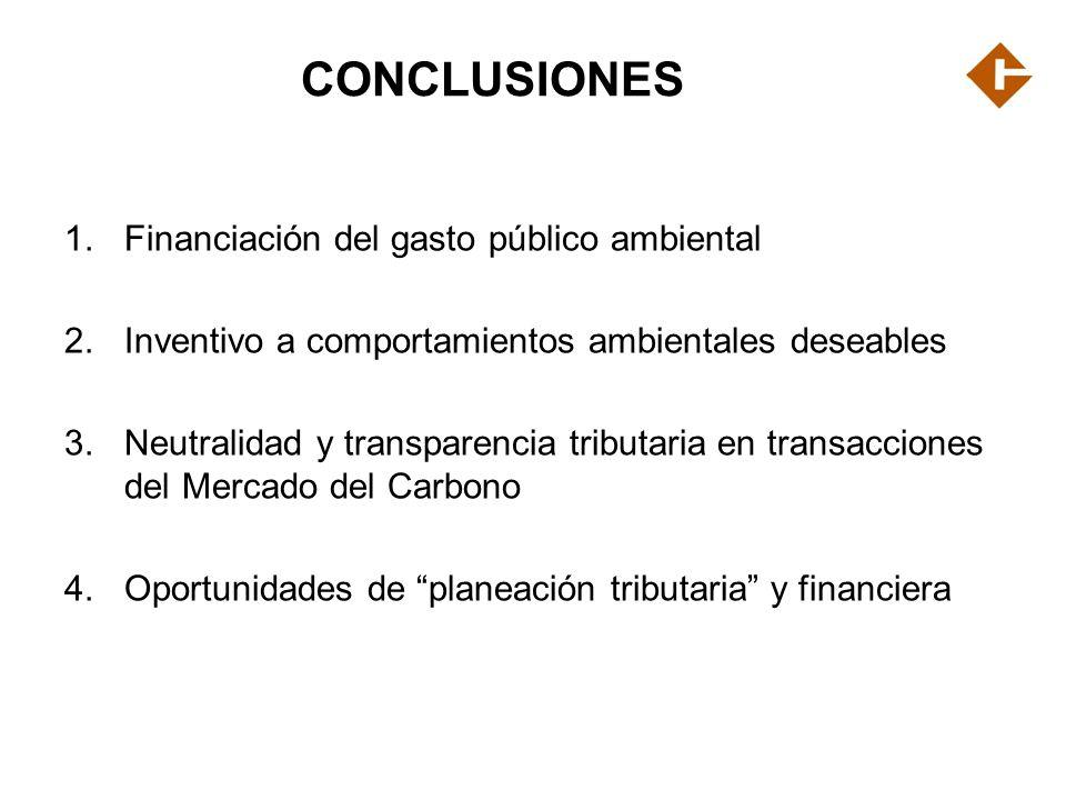 CONCLUSIONES Financiación del gasto público ambiental