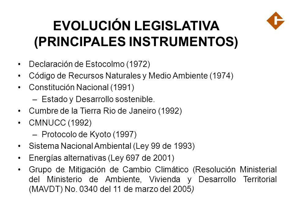 EVOLUCIÓN LEGISLATIVA (PRINCIPALES INSTRUMENTOS)