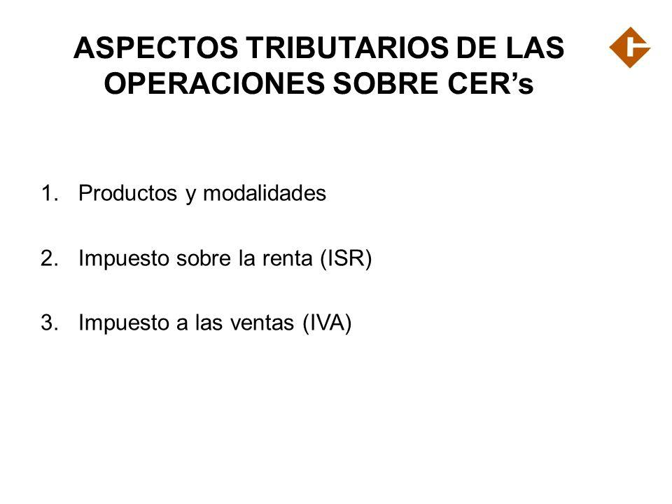 ASPECTOS TRIBUTARIOS DE LAS OPERACIONES SOBRE CER's
