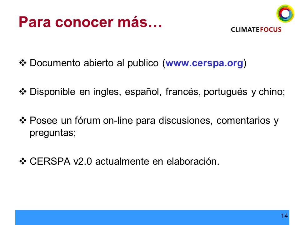 Para conocer más… Documento abierto al publico (www.cerspa.org)