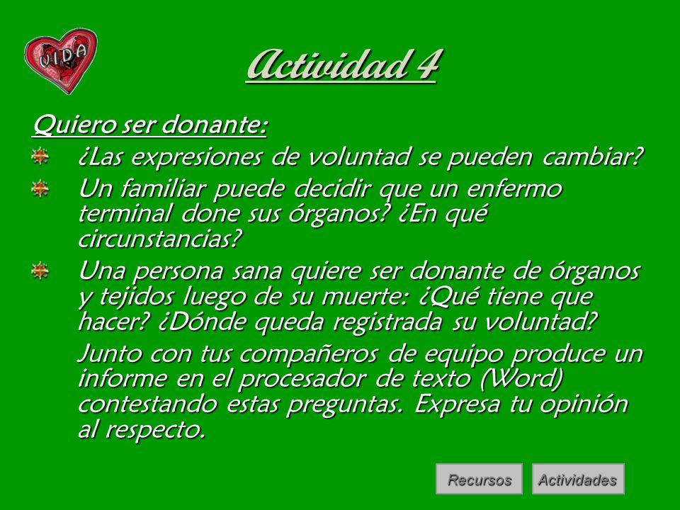 Actividad 4 Quiero ser donante: