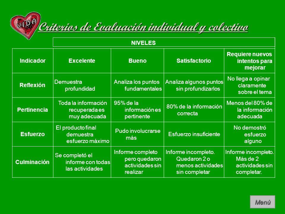 Criterios de Evaluación individual y colectivo