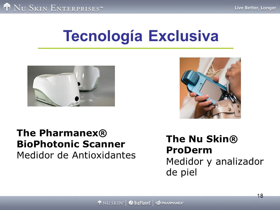 Tecnología ExclusivaThe Pharmanex® BioPhotonic Scanner Medidor de Antioxidantes.