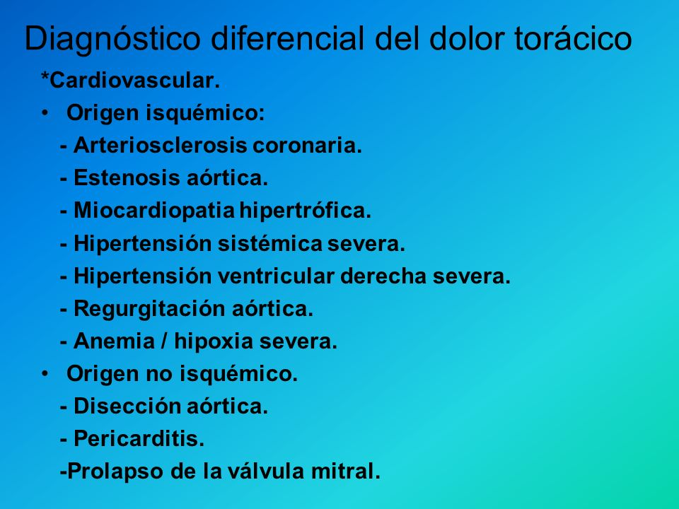 Diagnóstico diferencial del dolor torácico