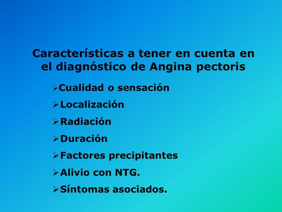 Características a tener en cuenta en el diagnóstico de Angina pectoris