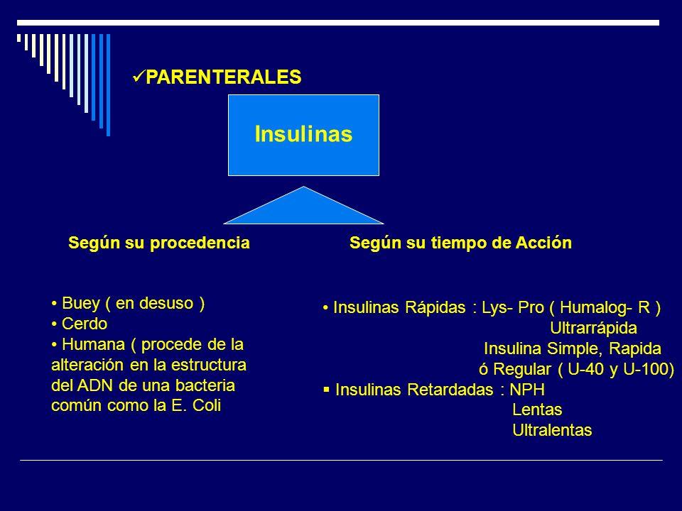 Insulinas PARENTERALES Según su procedencia Según su tiempo de Acción