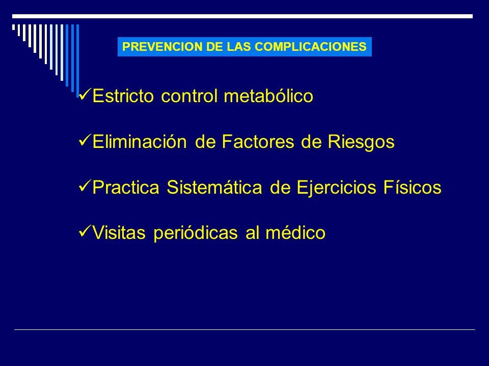 Estricto control metabólico Eliminación de Factores de Riesgos