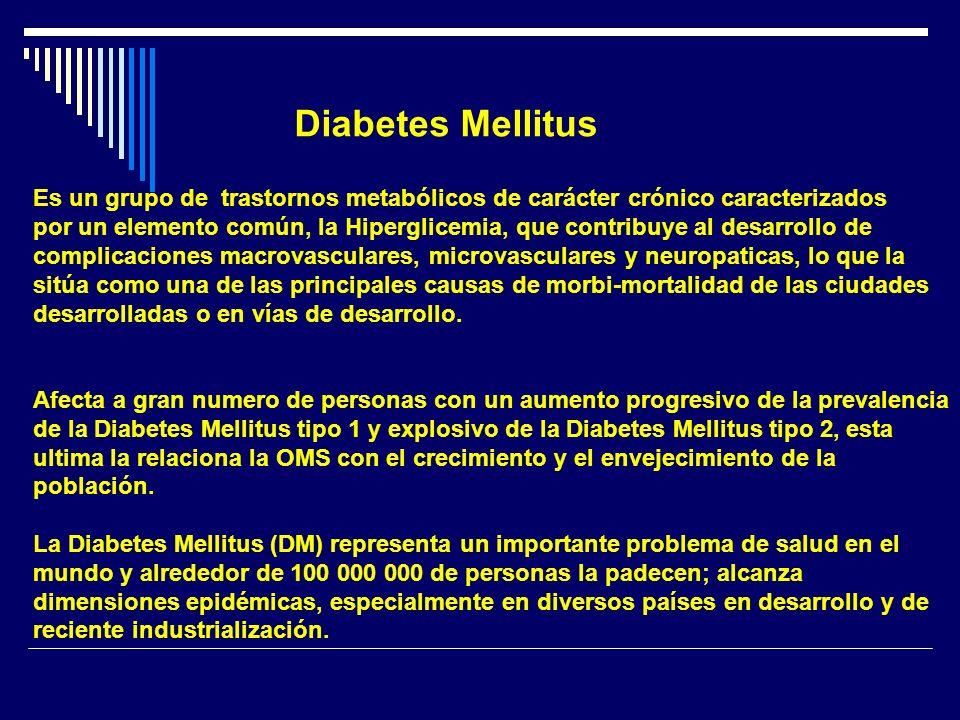 Diabetes Mellitus Es un grupo de trastornos metabólicos de carácter crónico caracterizados.