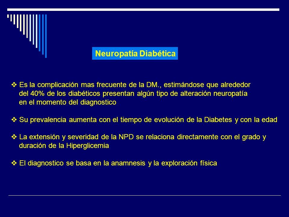 Neuropatía Diabética Es la complicación mas frecuente de la DM., estimándose que alrededor.