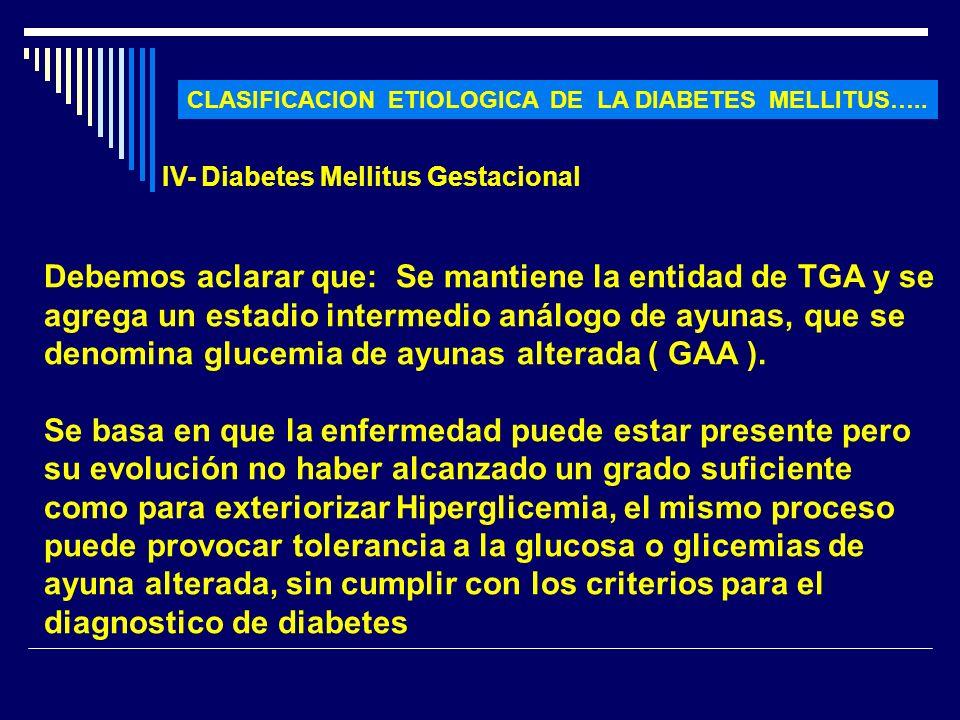 CLASIFICACION ETIOLOGICA DE LA DIABETES MELLITUS…..
