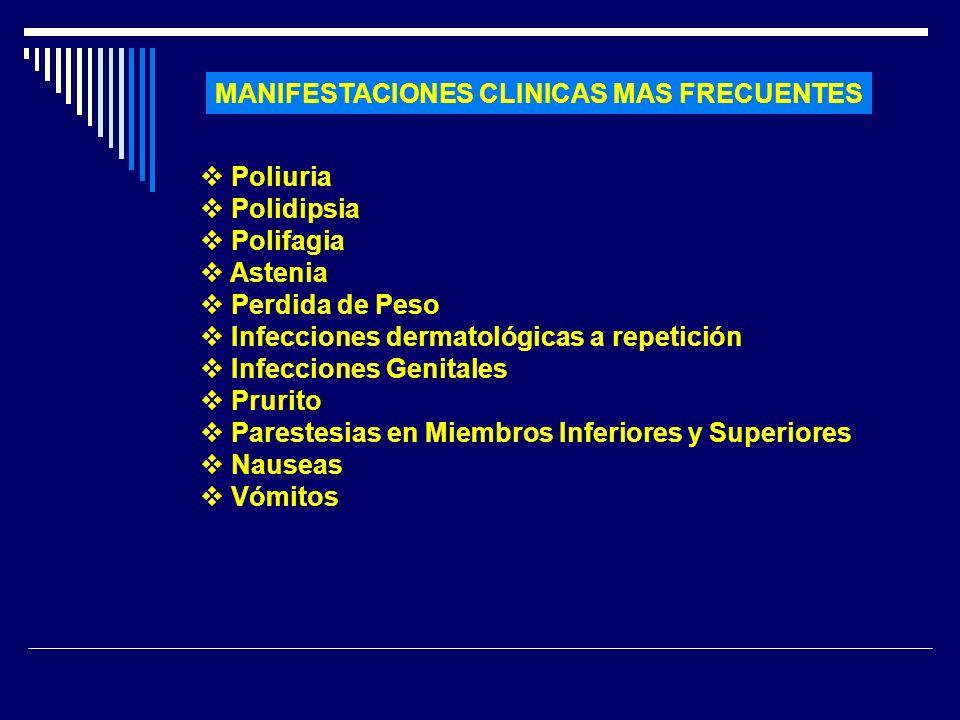 MANIFESTACIONES CLINICAS MAS FRECUENTES