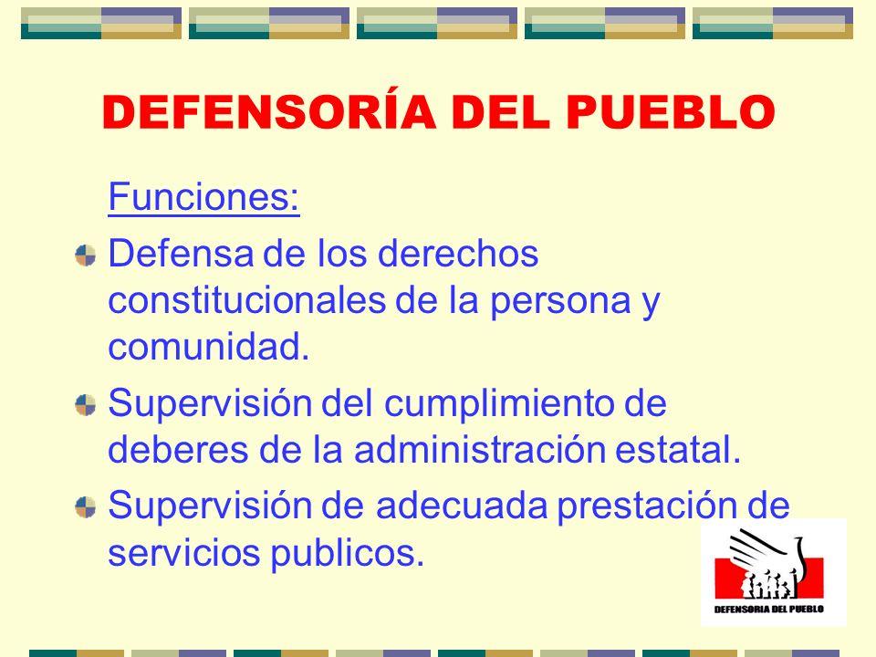 DEFENSORÍA DEL PUEBLO Funciones: