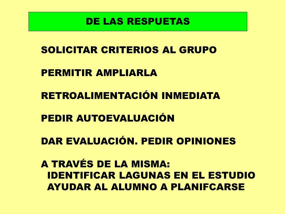 DE LAS RESPUETAS SOLICITAR CRITERIOS AL GRUPO. PERMITIR AMPLIARLA. RETROALIMENTACIÓN INMEDIATA. PEDIR AUTOEVALUACIÓN.
