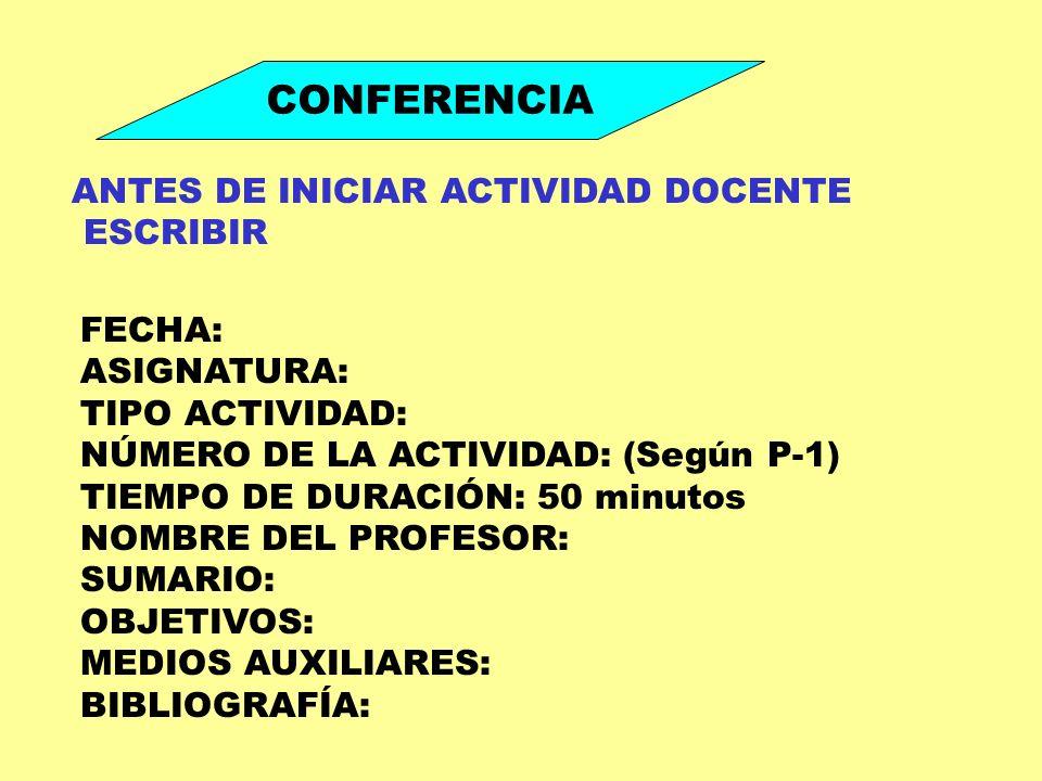 CONFERENCIA ANTES DE INICIAR ACTIVIDAD DOCENTE ESCRIBIR FECHA: