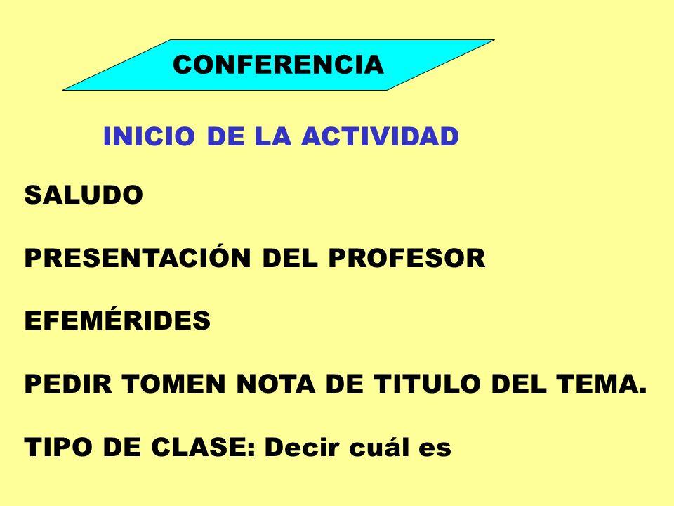 CONFERENCIA INICIO DE LA ACTIVIDAD. SALUDO. PRESENTACIÓN DEL PROFESOR. EFEMÉRIDES. PEDIR TOMEN NOTA DE TITULO DEL TEMA.
