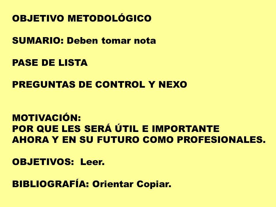 OBJETIVO METODOLÓGICO
