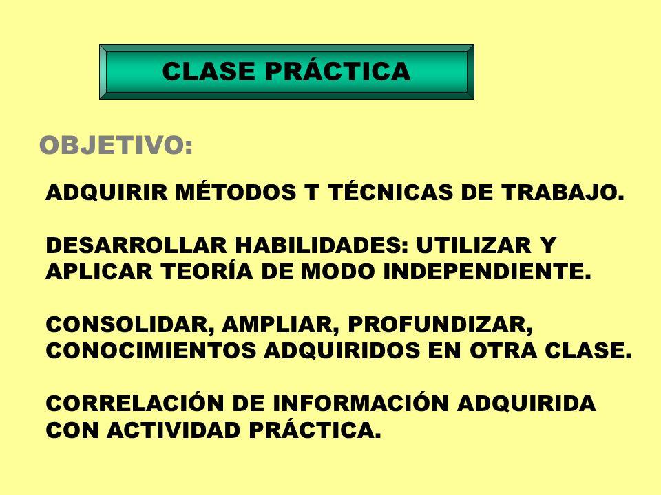 CLASE PRÁCTICA OBJETIVO: ADQUIRIR MÉTODOS T TÉCNICAS DE TRABAJO.