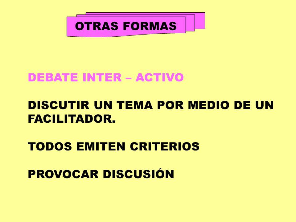 OTRAS FORMAS DEBATE INTER – ACTIVO. DISCUTIR UN TEMA POR MEDIO DE UN. FACILITADOR. TODOS EMITEN CRITERIOS.