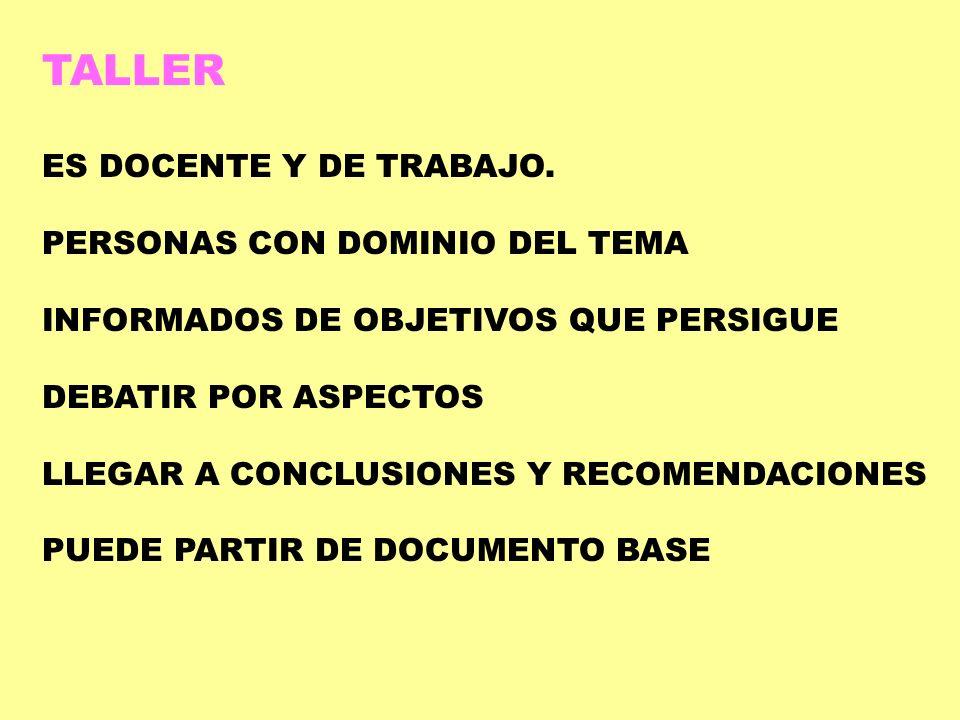 TALLER ES DOCENTE Y DE TRABAJO. PERSONAS CON DOMINIO DEL TEMA
