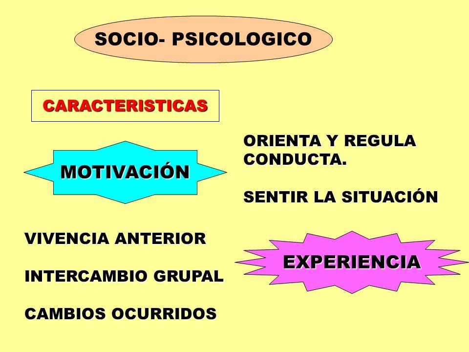 SOCIO- PSICOLOGICO MOTIVACIÓN EXPERIENCIA CARACTERISTICAS