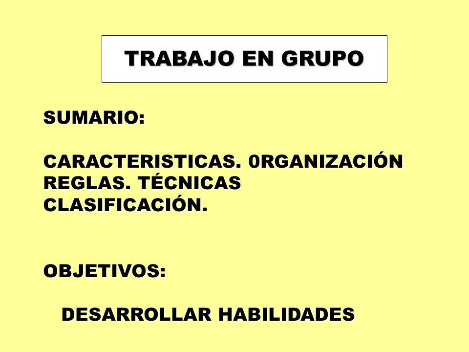 TRABAJO EN GRUPO SUMARIO: CARACTERISTICAS. 0RGANIZACIÓN