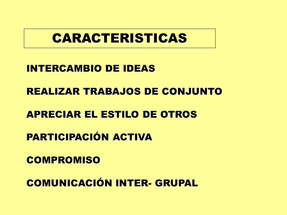 CARACTERISTICAS INTERCAMBIO DE IDEAS REALIZAR TRABAJOS DE CONJUNTO