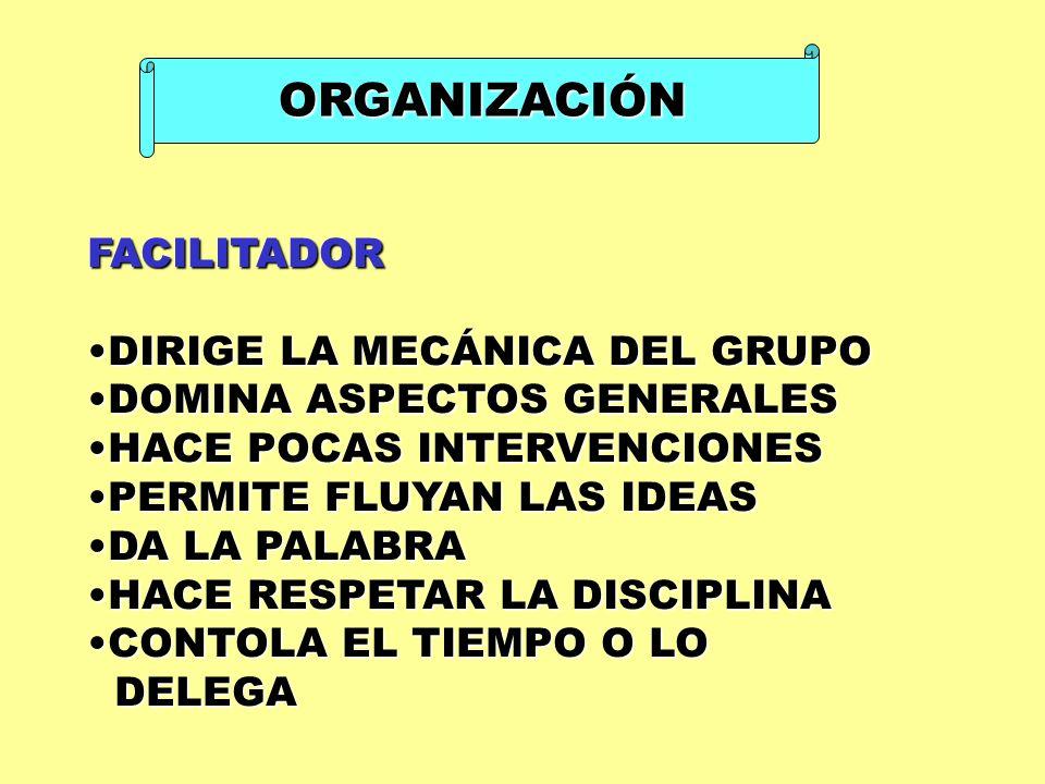 ORGANIZACIÓN FACILITADOR DIRIGE LA MECÁNICA DEL GRUPO