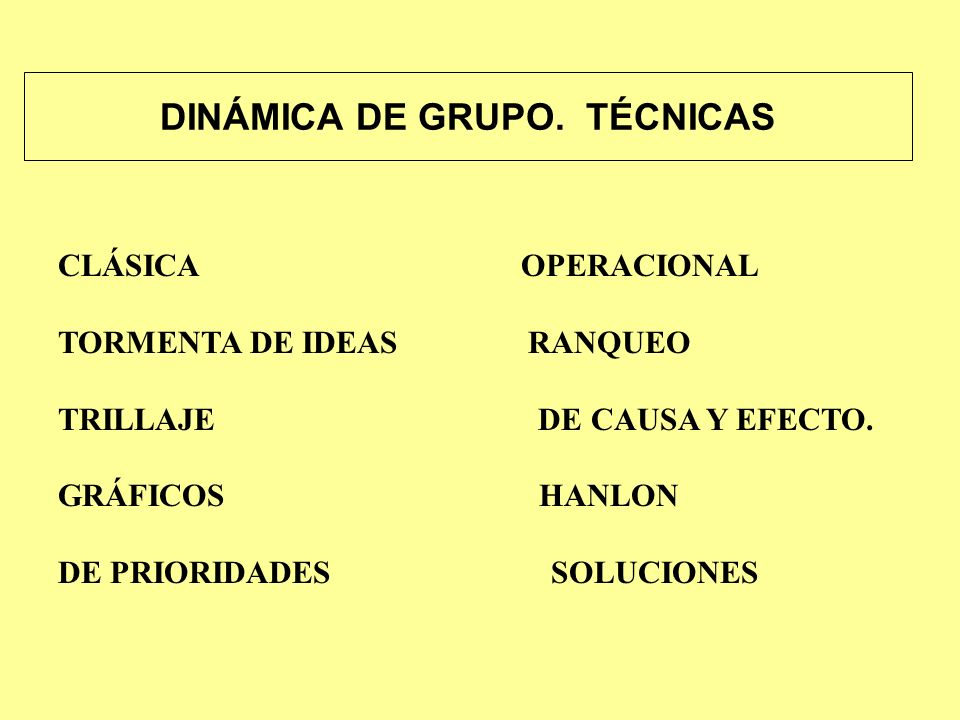 DINÁMICA DE GRUPO. TÉCNICAS