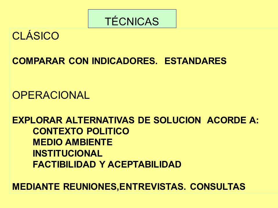 TÉCNICAS CLÁSICO OPERACIONAL COMPARAR CON INDICADORES. ESTANDARES