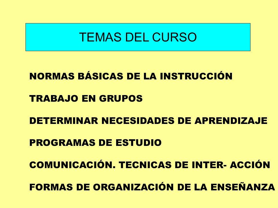 TEMAS DEL CURSO NORMAS BÁSICAS DE LA INSTRUCCIÓN TRABAJO EN GRUPOS
