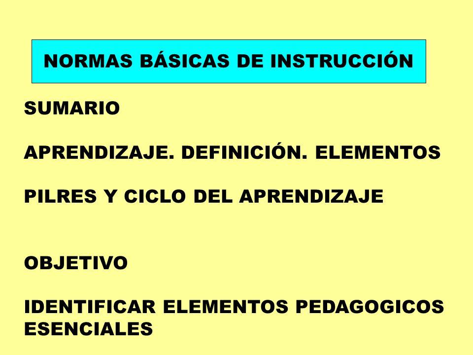 NORMAS BÁSICAS DE INSTRUCCIÓN